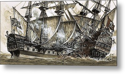 Captain Maynard's Sloop Bore Down On The Pirate Ship Metal Print by Clive Uptton