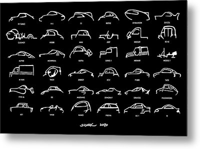Car Icons Black Metal Print