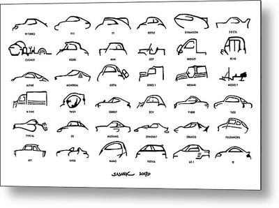 Car Icons White Metal Print