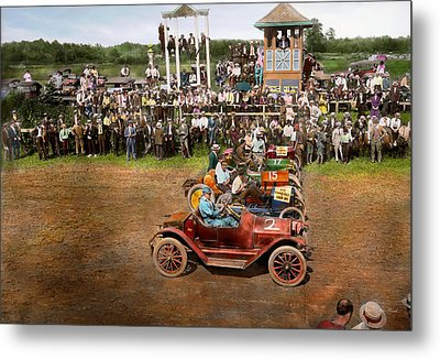 Car - Race - On The Edge Of Their Seats 1915 Metal Print