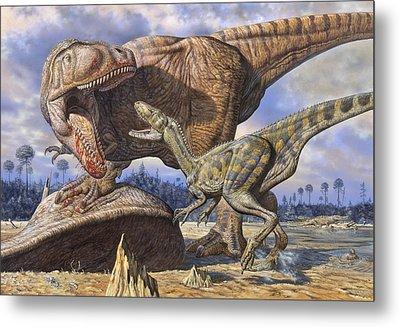 Carcharodontosaurus Guards Its Kill Metal Print by Mark Hallett