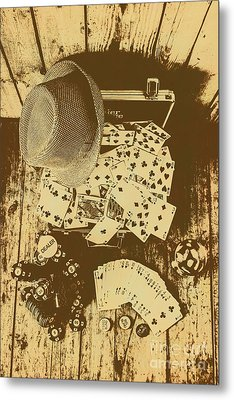 Card Games And Vintage Bets Metal Print by Jorgo Photography - Wall Art Gallery