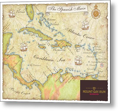 Metal Print featuring the digital art Caribbean Map II by Unknown