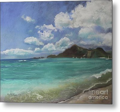Metal Print featuring the pastel Caribbean Sea Day Antigua by Robin Maria Pedrero