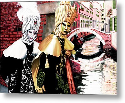 Carnevale Venecia - Commissioned Oil Painting Now In Print Metal Print
