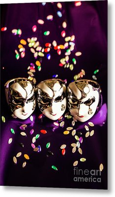 Carnival Mask Jewelry On Purple Background Metal Print by Jorgo Photography - Wall Art Gallery