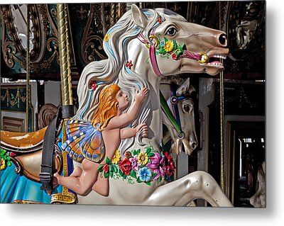 Carousel Horse And Angel Metal Print by Garry Gay