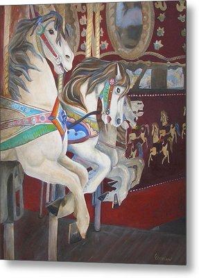 Carousel Horses Metal Print by Linda Cleveland