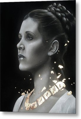 Carrie Fisher - Traditional Art Tribute Metal Print