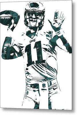 Carson Wentz Philadelphia Eagles Pixel Art Metal Print by Joe Hamilton