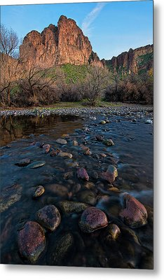 Metal Print featuring the photograph Cascades In The Salt River At Sunset by Dave Dilli
