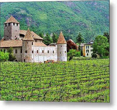 Castle And Vineyard In Italy Metal Print by Greg Matchick