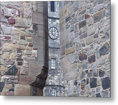 Castle Clock Through Walls Metal Print by Margaret Brooks