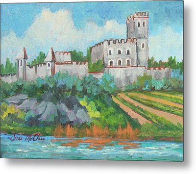 Metal Print featuring the painting Castle On The Upper Rhine River by Diane McClary