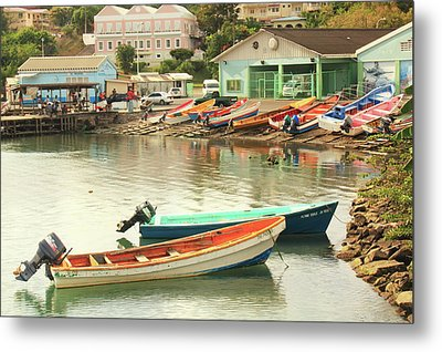Metal Print featuring the photograph Castries Harbor Waterfront by Roupen  Baker