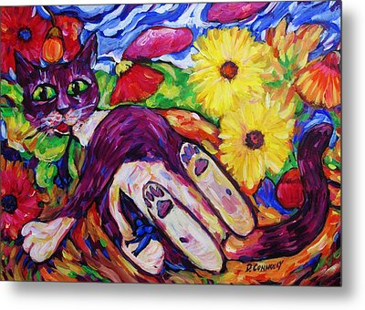 Cat Among Daisy Petals Metal Print