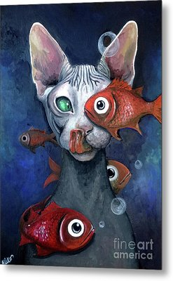 Cat And Fish Metal Print by Akiko Okabe