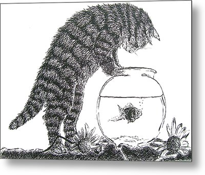 Cat And Fishbowl Metal Print