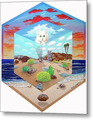 Cat In The Box Metal Print by Snake Jagger