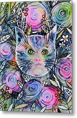 Metal Print featuring the painting Cat On Flower Bed by Zaira Dzhaubaeva