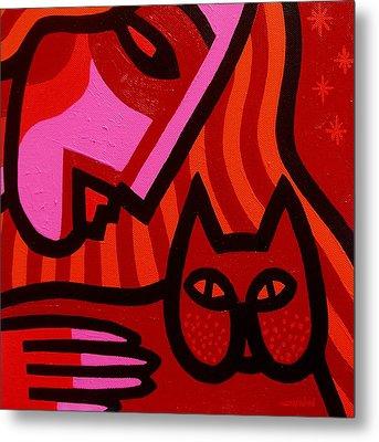 Cat Woman Metal Print by John  Nolan