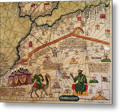 Catalan Map Of Europe And North Africa Charles V Of France In 1381  Metal Print by Abraham Cresques
