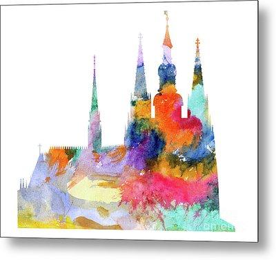 Cathedral Of Saint Vitus In The Prague Castle Watercolor Art Metal Print