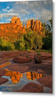 Cathedral Rock Reflection Metal Print by Guy Schmickle