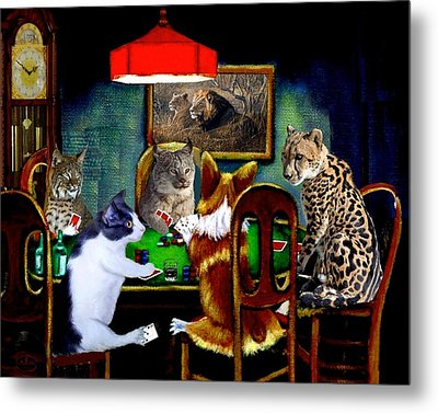 Cats Are Wild Poker Metal Print