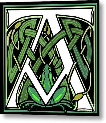 Celtic Frog Letter A Metal Print
