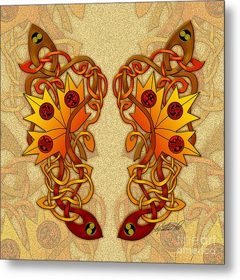Metal Print featuring the mixed media Celtic Loose Leaves by Kristen Fox