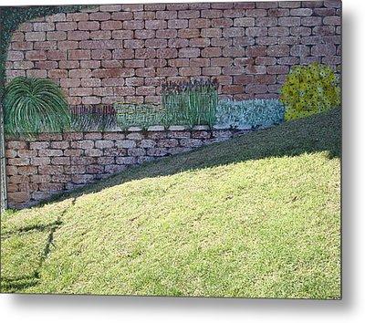 Cement Garden Wall Metal Print