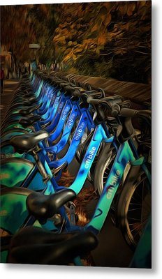 Metal Print featuring the mixed media Central Park Bikes by Trish Tritz