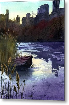 Metal Print featuring the painting Central Park Lake by Sergey Zhiboedov