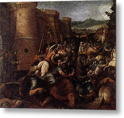 Cesari Giuseppe St Clare With The Scene Of The Siege Of Assisi Metal Print