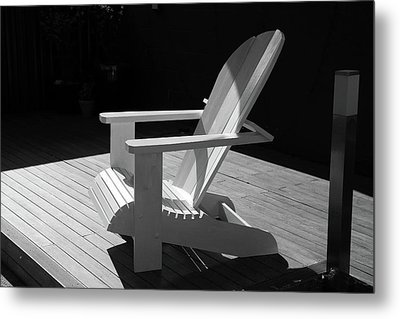 Chair In Black And White Metal Print