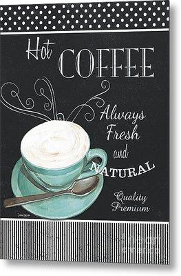 Chalkboard Retro Coffee Shop 1 Metal Print by Debbie DeWitt