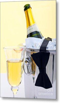 Champagne Black Tie And Lipstick Metal Print by Richard Thomas