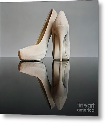 Metal Print featuring the photograph Champagne Stiletto Shoes by Terri Waters