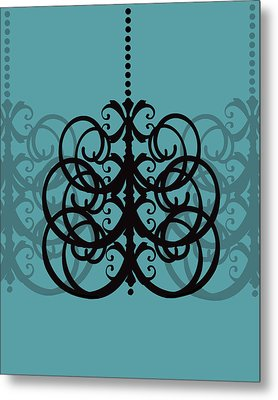 Metal Print featuring the photograph Chandelier Delight 2- Blue Background by KayeCee Spain