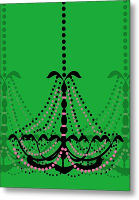 Metal Print featuring the photograph Chandelier Delight 3- Green Background by KayeCee Spain