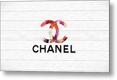 Chanel Floral On Wood Metal Print