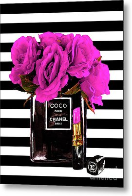 Chanel Noir Perfume With Flowers Metal Print by Del Art