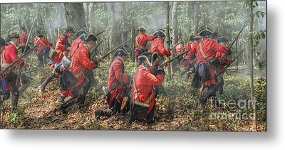 Charge Of The 60th Royal Americans Regiment At Bushy Run Metal Print by Randy Steele