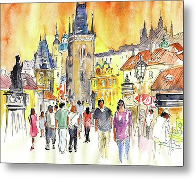 Charles Bridge In Prague In The Czech Republic Metal Print by Miki De Goodaboom