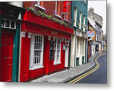 Charming Narrow Street In Kinsale Metal Print by George Oze