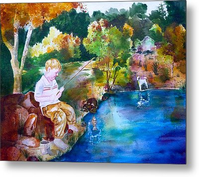 Chayton's Lake In The Woods Metal Print by Sharon Mick
