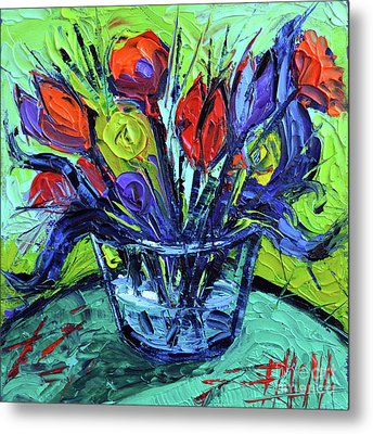Cheerful Abstract Flowers Metal Print