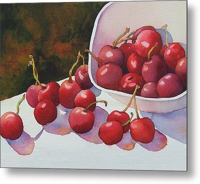 Cheery Cherries Metal Print by Judy Mercer