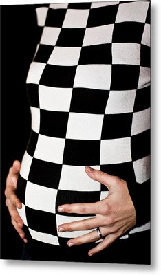 Chequered Pregnancy Metal Print